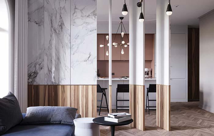 Marble and wood composing a classic style partition