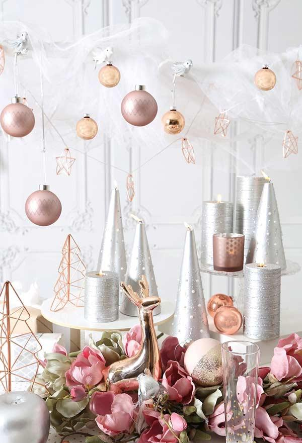 Christmas balls and ornaments with soft color palette