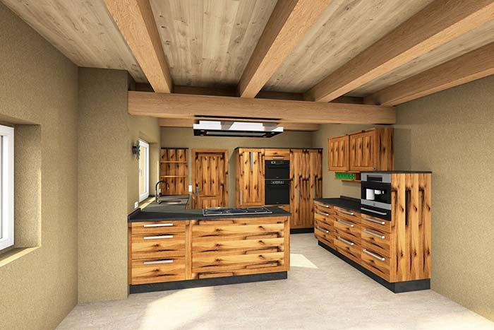 All kitchen made of pallet with cupboards