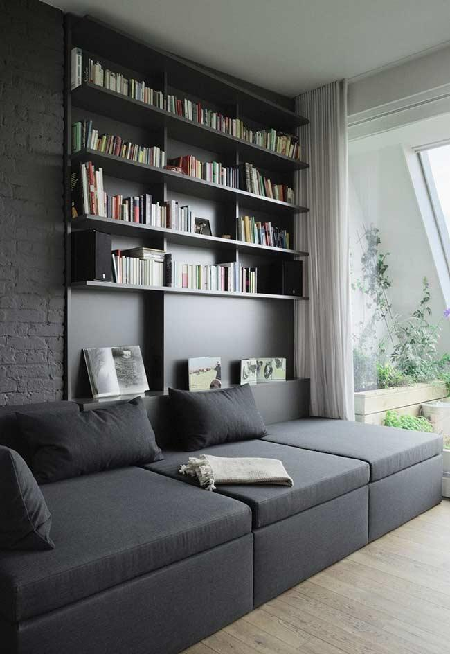 Panel interlocked sofa with shelves for books and decorations