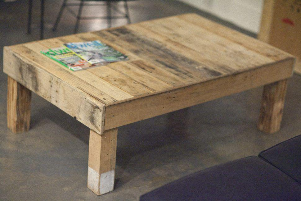 Details of a small table made with pallets