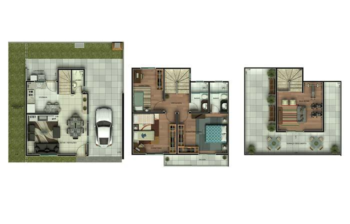 Floor plan with 3 bedrooms and 3 floors