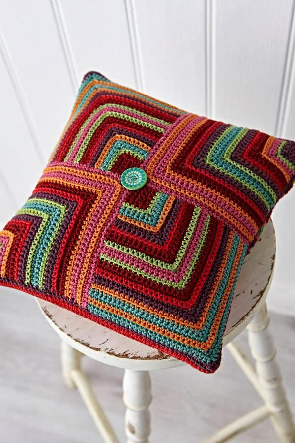 Multicolored Crochet Cushion Cover
