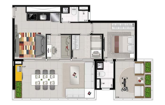 Flexibility in the 3 bedroom plan