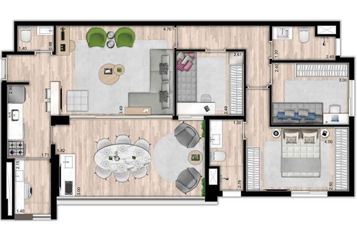 Floor with 3 bedrooms and hallway