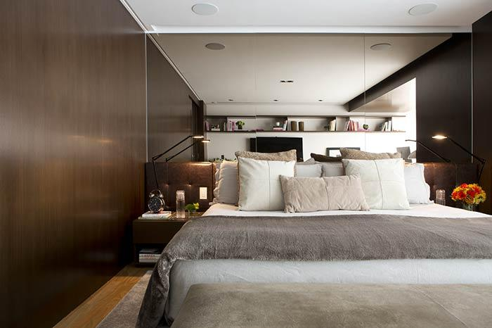 The combination of the bronze mirror with brown headboard