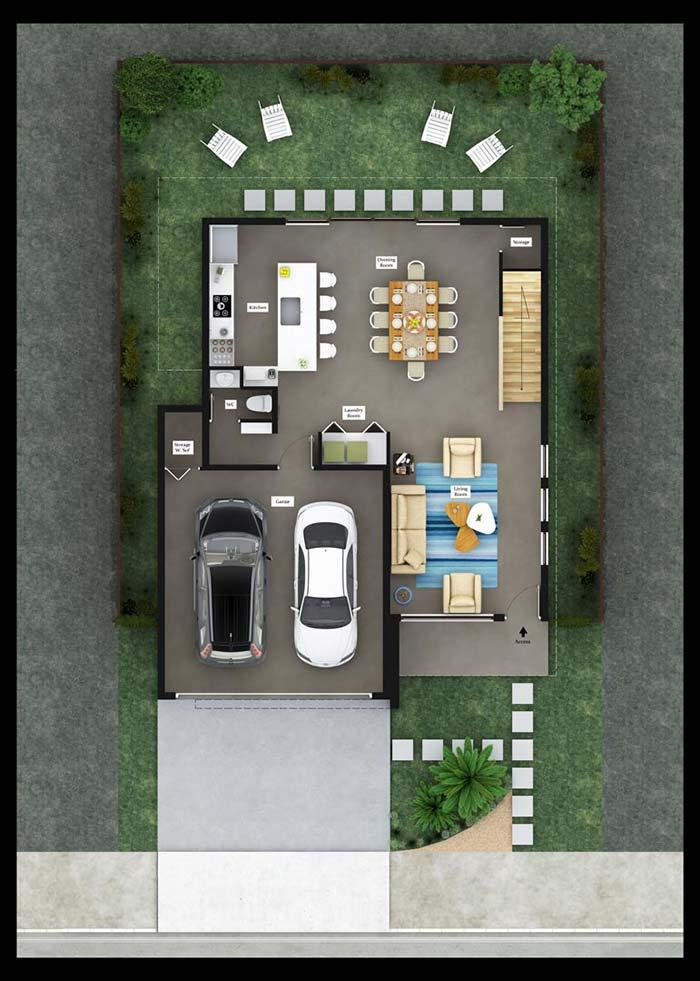 Lower floor plan with garage and integrated environments