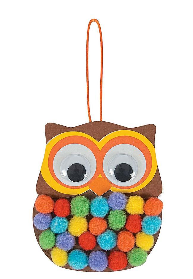 EVA owl with colorful pompons