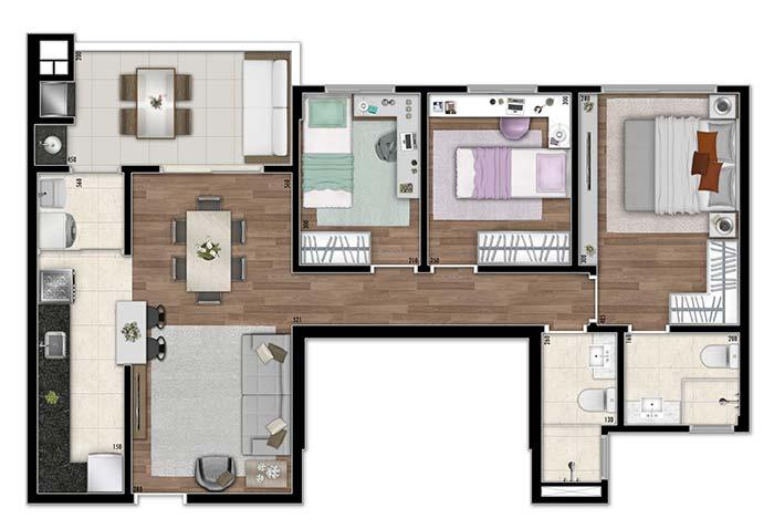 Floor plan with three bedrooms of different sizes