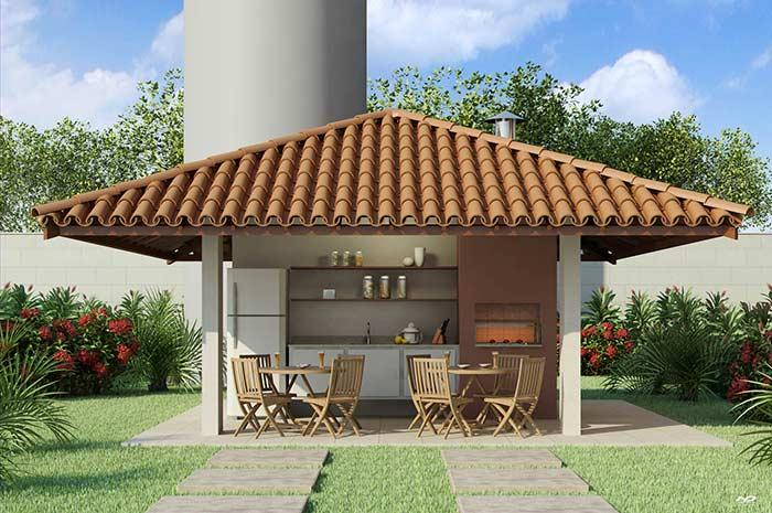 Barbecue with colonial roof