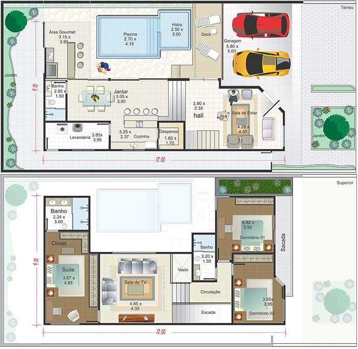 House plan with two floors, three bedrooms, gourmet area and garage