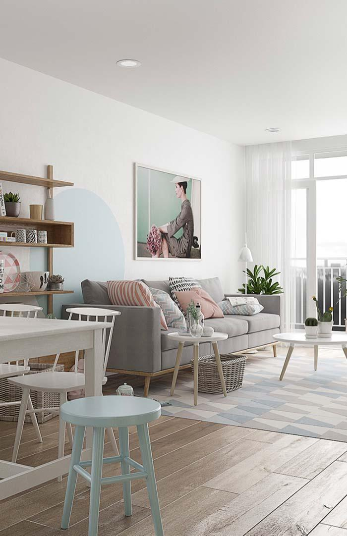 Large living room in pastel colors