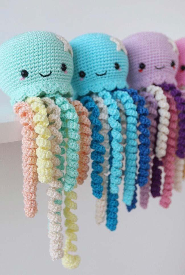 Starlet on each head of crochet octopus
