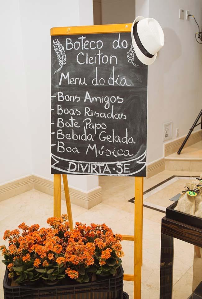 Entrance plate with the menu of the day for your party bar
