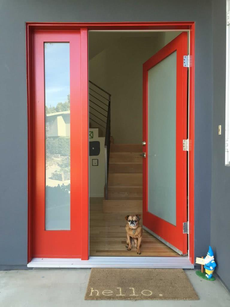Glass door with outline painted in red color