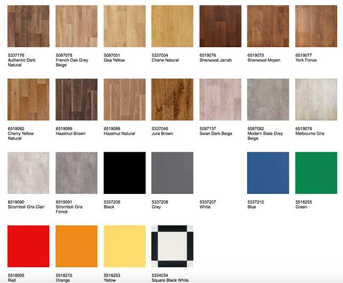 Tarkett Floor Color Table