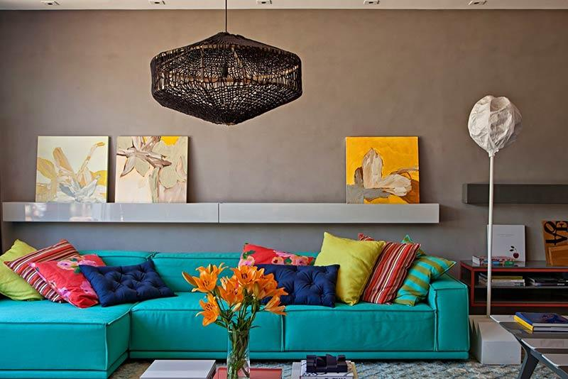 Turquoise blue sofa in living room