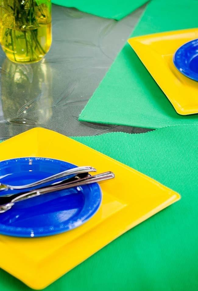 Flag of Brazil to decorate the party table World Cup