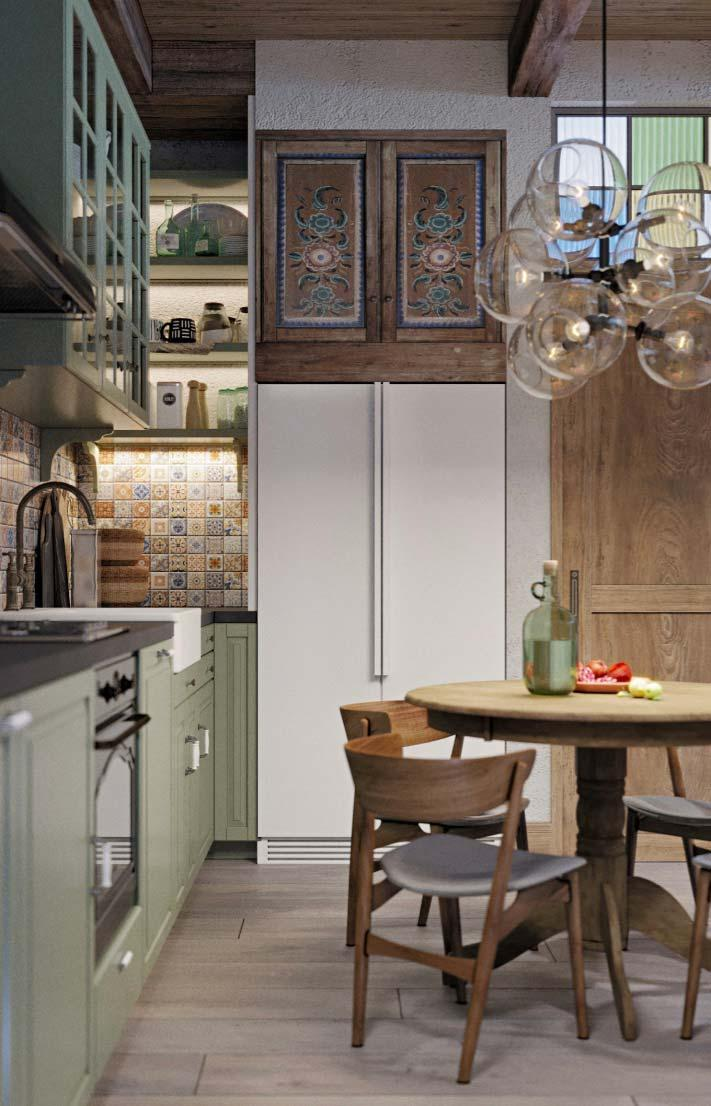 Provençal cuisine: from the pastel green of the old cupboard to the wooden ceiling