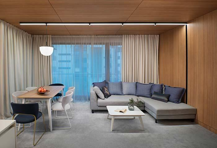 Neutral colors come to life with lining and wall wood