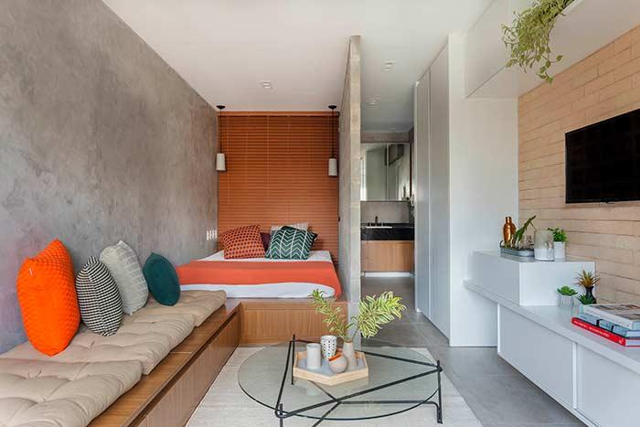 Small apartment decorated with burnt cement