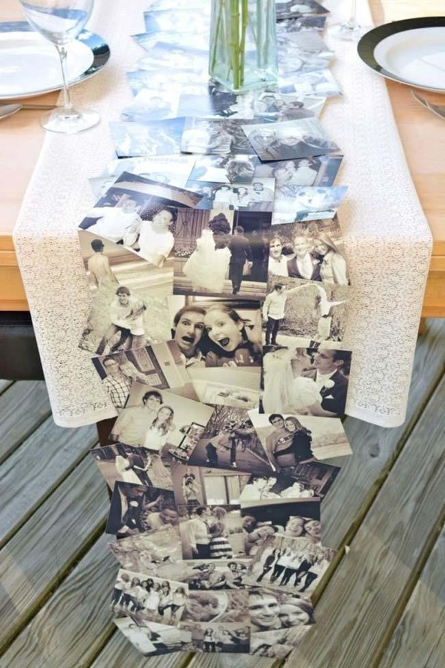 Tablecloth made with bride and groom photo for simple engagement party
