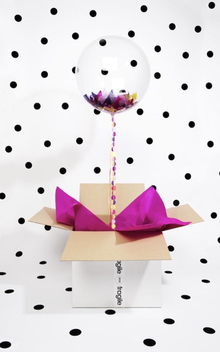 Balloon with confetti for party in the box
