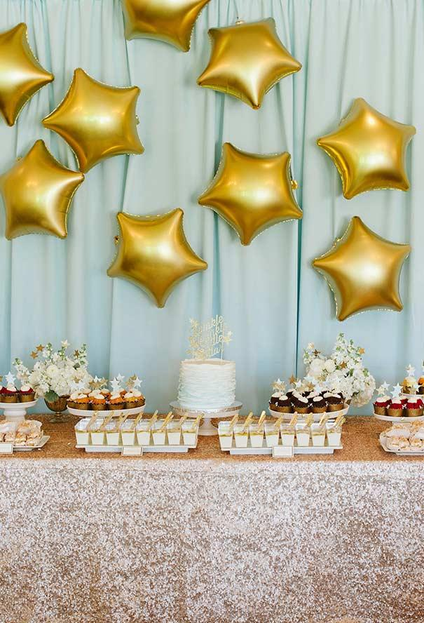 White, gold and blue luxury in party decoration Little Prince