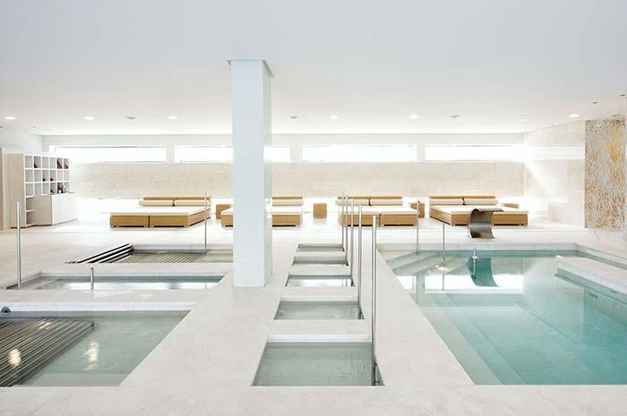 Pools covered with marble flooring around