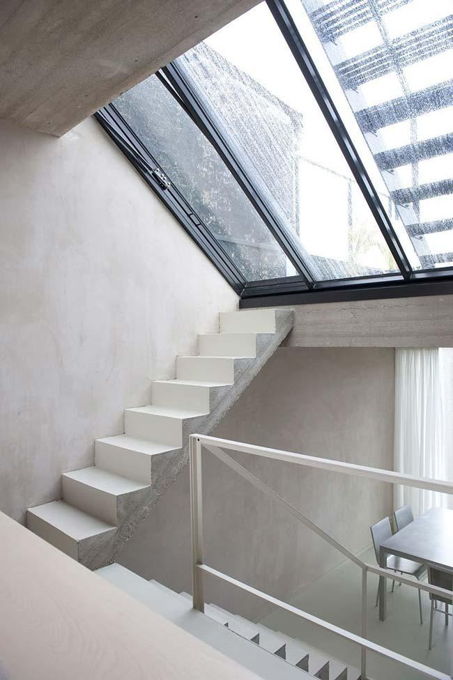 Concrete ladder painted white