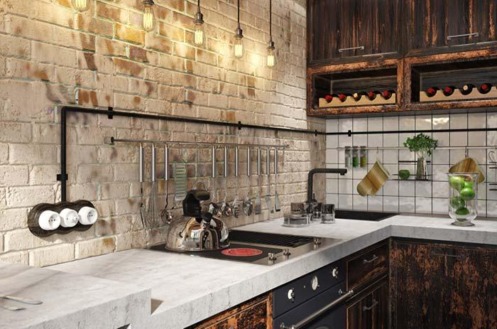 Rustic kitchen with exposed brick