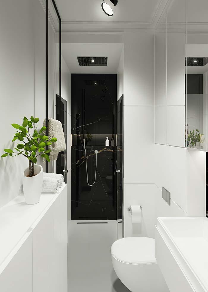 The black Nero marble strip inside the box gives that indispensable contrast to all white environment