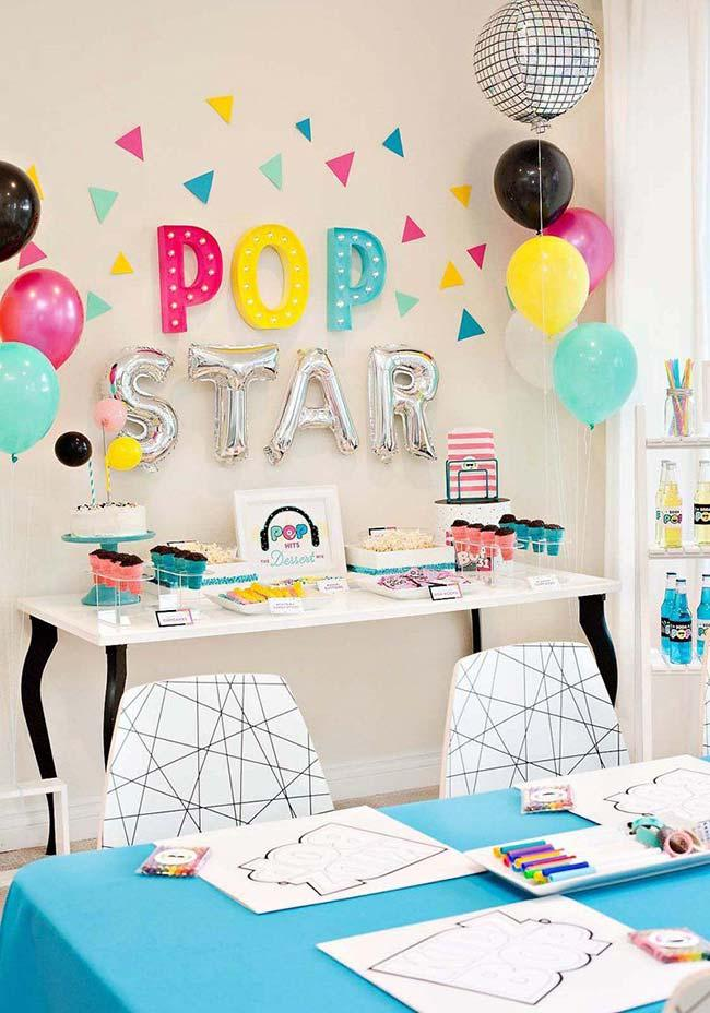 Pop star theme for simple children's party