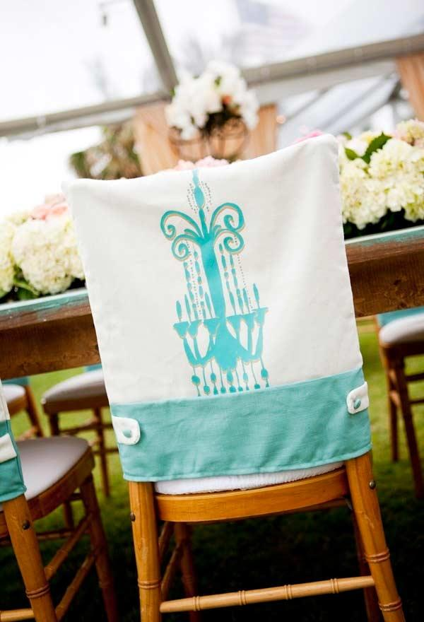 Chair Back Cover with Tiffany Blue Details