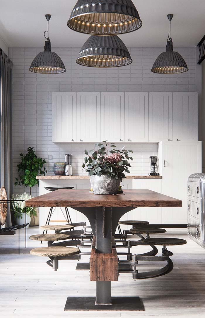 White kitchen with antique table