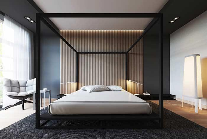 Straight and minimalist lines for a contemporary bedroom