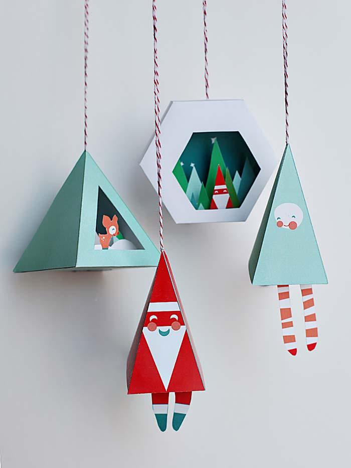 Christmas ornaments with cut and paste
