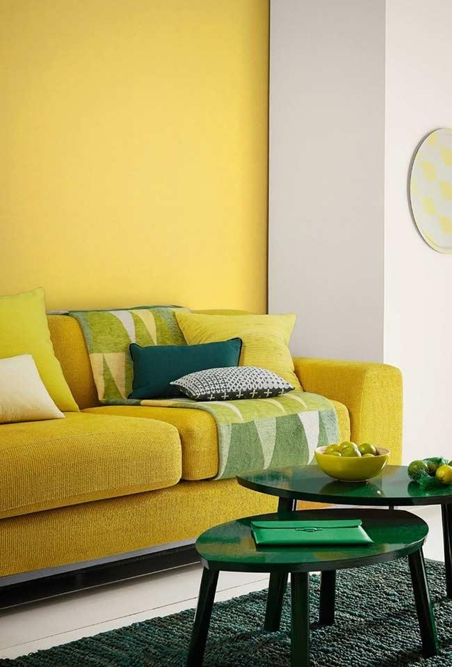 Room with wall and sofa in yellow color