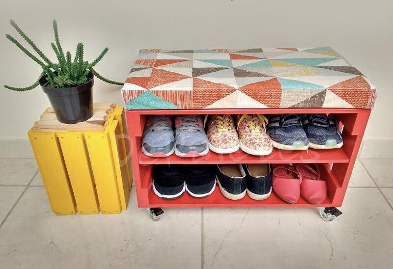 Put a holstery to make the shoe rack more comfortable
