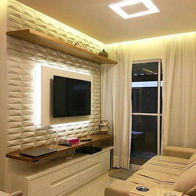 Living room with 3d plasterboard