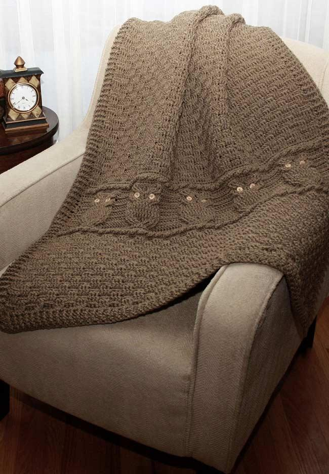Blanket for couch with owls