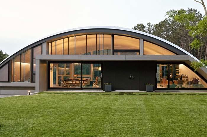Arched roof follows the structure of the house