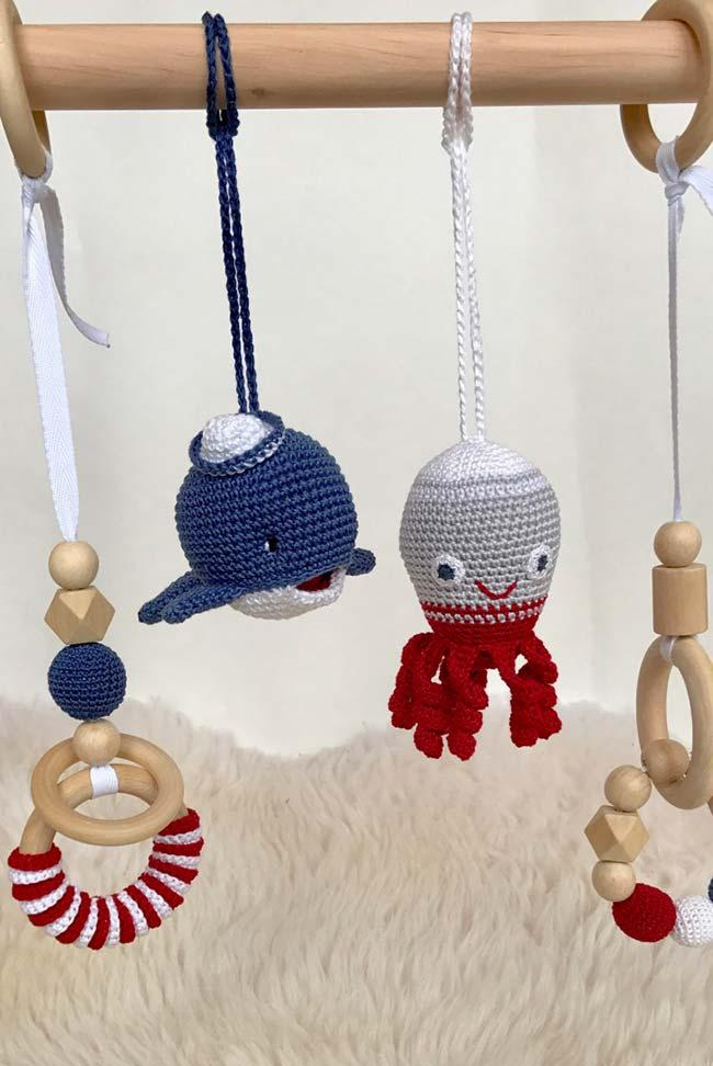 Octopus and crochet whale