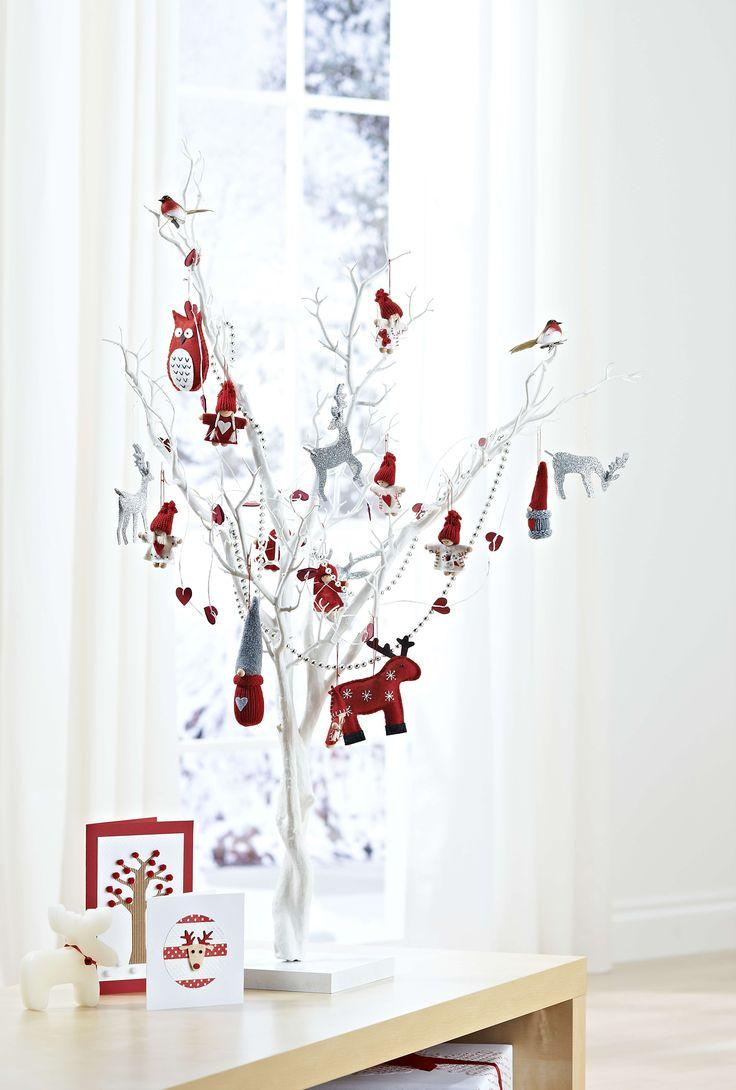 White Christmas tree with rustic twigs