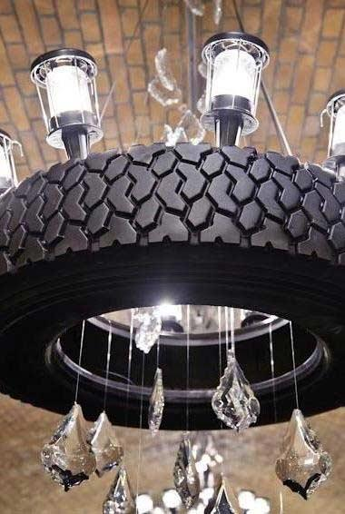 Different chandelier with crystals and tires