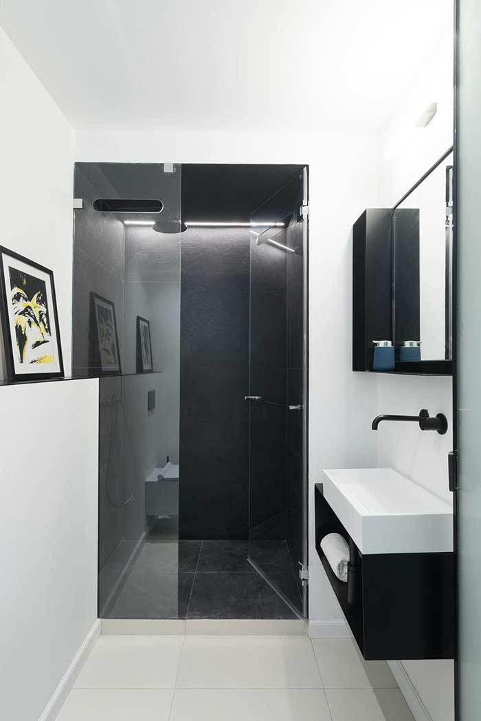 Bathroom with glass opening door