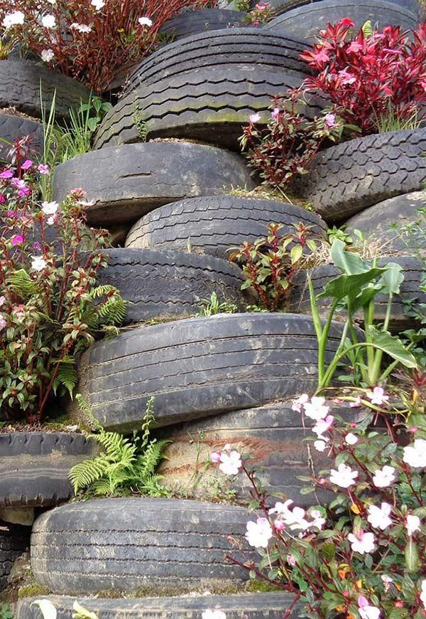 Stacked flowers and tires