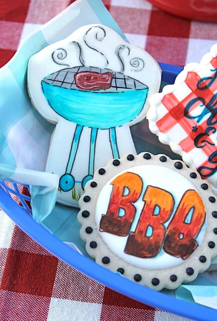Buttery biscuits decorated with the theme barbecue