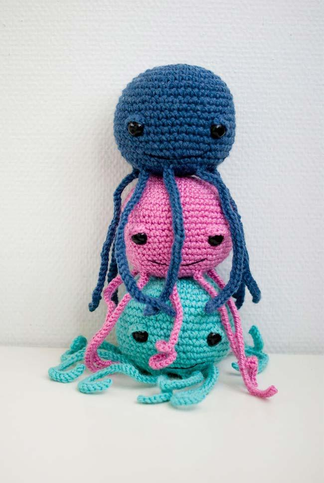 Three crochet octopuses