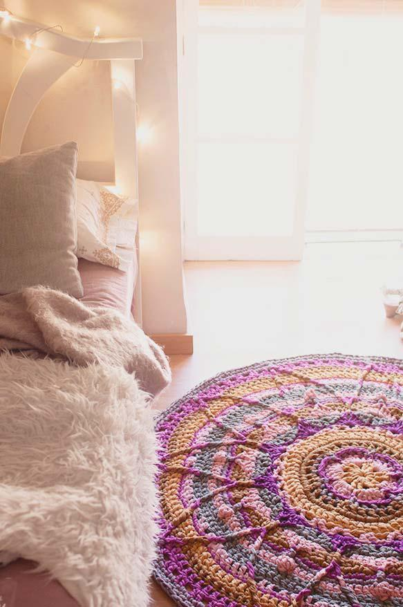 A colorful mandala on the round crochet rug
